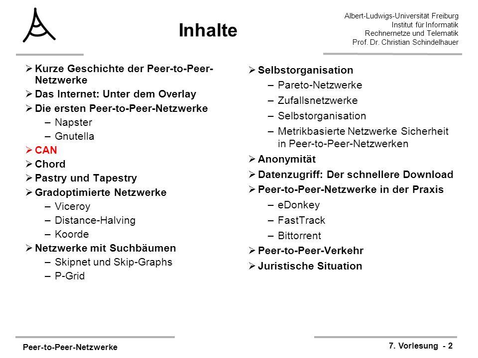 Peer-to-Peer-Netzwerke 7. Vorlesung - 2 Albert-Ludwigs-Universität Freiburg Institut für Informatik Rechnernetze und Telematik Prof. Dr. Christian Sch