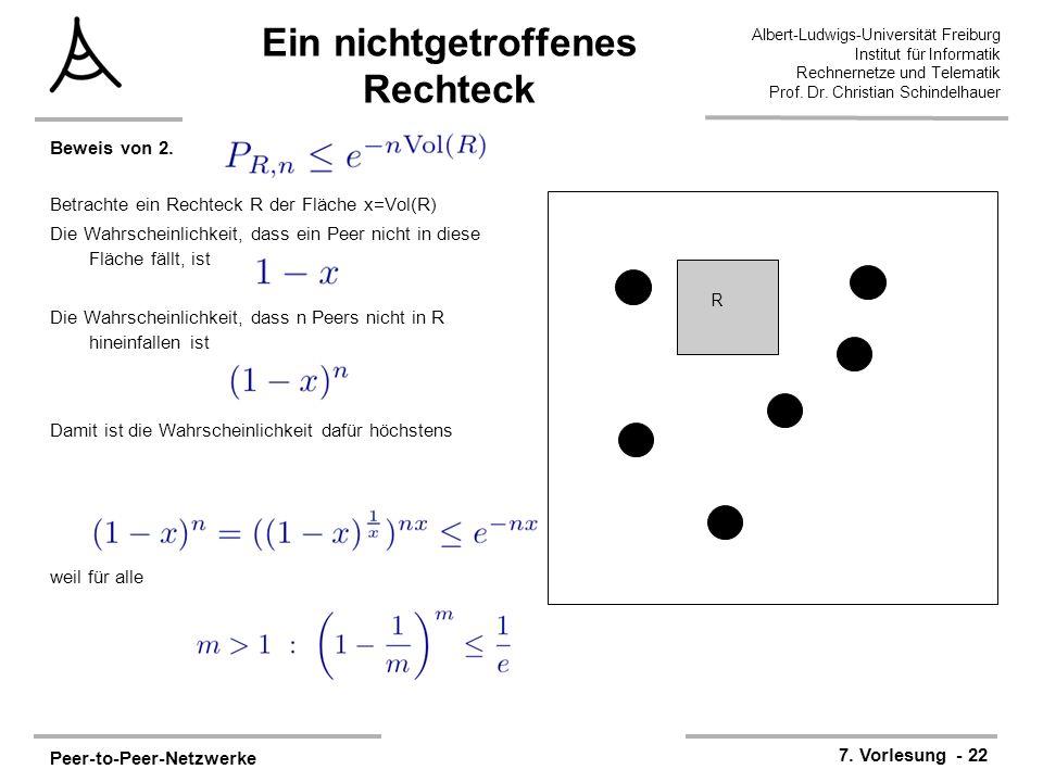Peer-to-Peer-Netzwerke 7. Vorlesung - 22 Albert-Ludwigs-Universität Freiburg Institut für Informatik Rechnernetze und Telematik Prof. Dr. Christian Sc