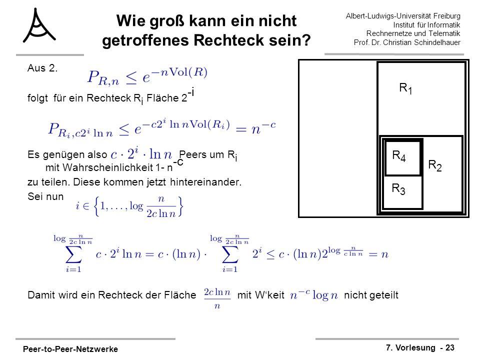 Peer-to-Peer-Netzwerke 7. Vorlesung - 23 Albert-Ludwigs-Universität Freiburg Institut für Informatik Rechnernetze und Telematik Prof. Dr. Christian Sc