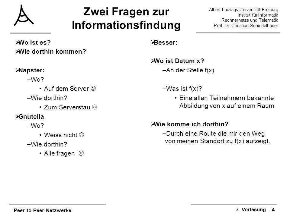 Peer-to-Peer-Netzwerke 7. Vorlesung - 4 Albert-Ludwigs-Universität Freiburg Institut für Informatik Rechnernetze und Telematik Prof. Dr. Christian Sch