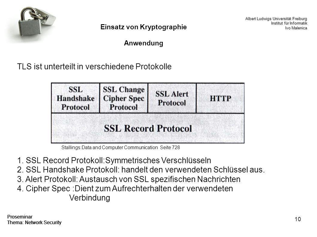 10 Proseminar Thema: Network Security Einsatz von Kryptographie Anwendung TLS ist unterteilt in verschiedene Protokolle 1. SSL Record Protokoll:Symmet