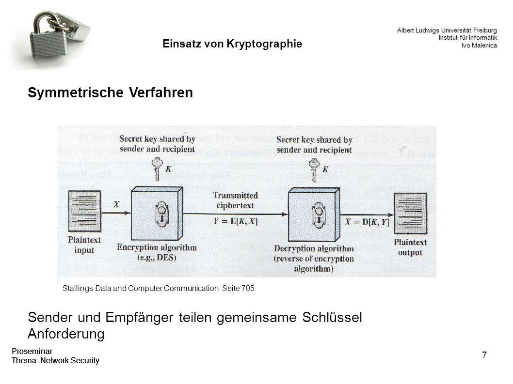 7 Testest Proseminar Thema: Network Security Einsatz von Kryptographie Symmetrische Verfahren Sender und Empfänger teilen gemeinsame Schlüssel Anforde