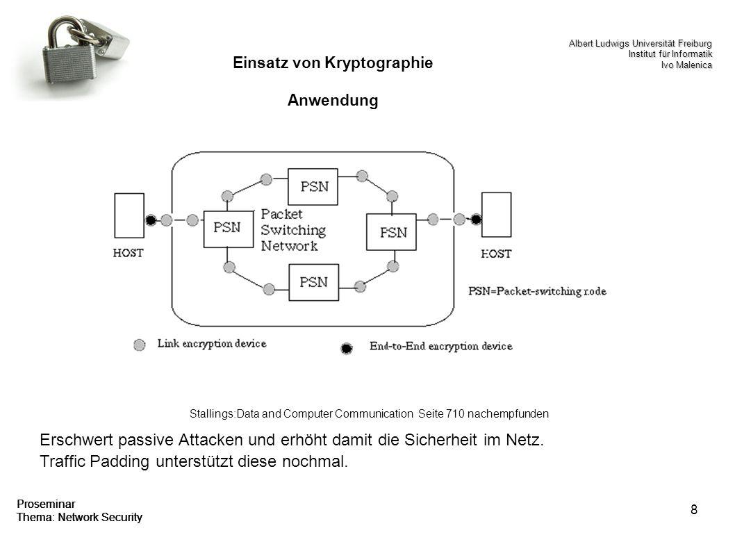 8 Proseminar Thema: Network Security Einsatz von Kryptographie Anwendung Erschwert passive Attacken und erhöht damit die Sicherheit im Netz. Traffic P