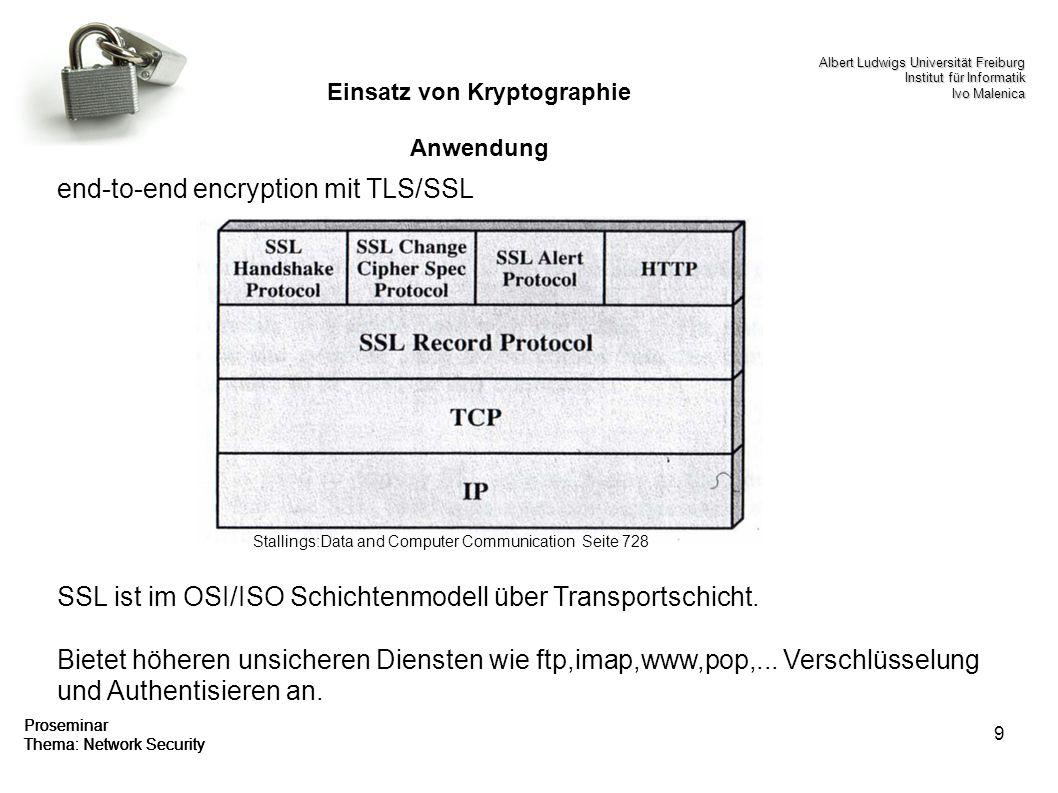 9 Proseminar Thema: Network Security Einsatz von Kryptographie Anwendung end-to-end encryption mit TLS/SSL SSL ist im OSI/ISO Schichtenmodell über Tra