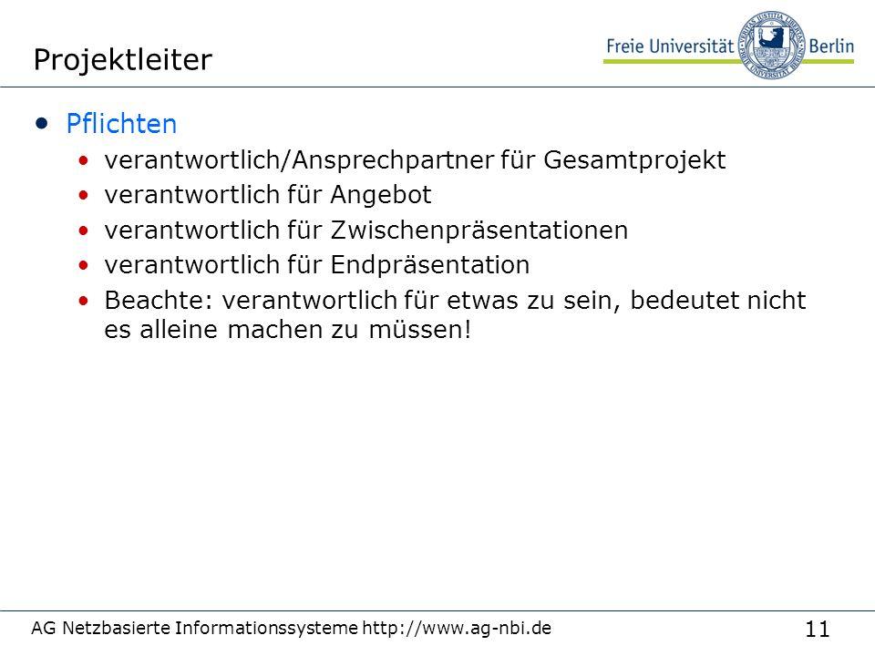 11 AG Netzbasierte Informationssysteme http://www.ag-nbi.de Projektleiter Pflichten verantwortlich/Ansprechpartner für Gesamtprojekt verantwortlich fü