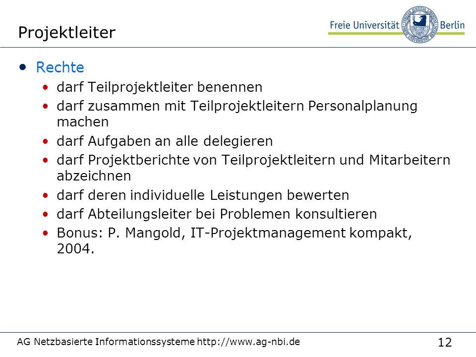 12 AG Netzbasierte Informationssysteme http://www.ag-nbi.de Projektleiter Rechte darf Teilprojektleiter benennen darf zusammen mit Teilprojektleitern