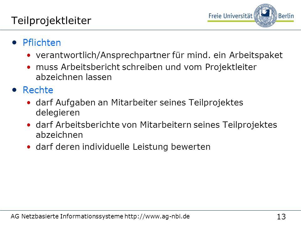 13 AG Netzbasierte Informationssysteme http://www.ag-nbi.de Teilprojektleiter Pflichten verantwortlich/Ansprechpartner für mind. ein Arbeitspaket muss