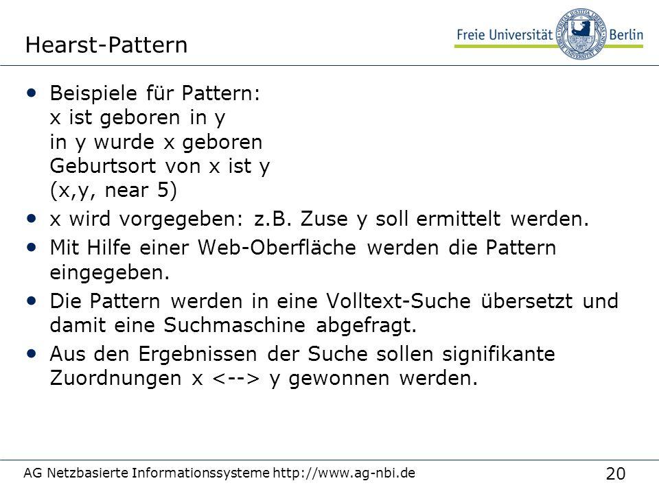 20 AG Netzbasierte Informationssysteme http://www.ag-nbi.de Hearst-Pattern Beispiele für Pattern: x ist geboren in y in y wurde x geboren Geburtsort von x ist y (x,y, near 5) x wird vorgegeben: z.B.
