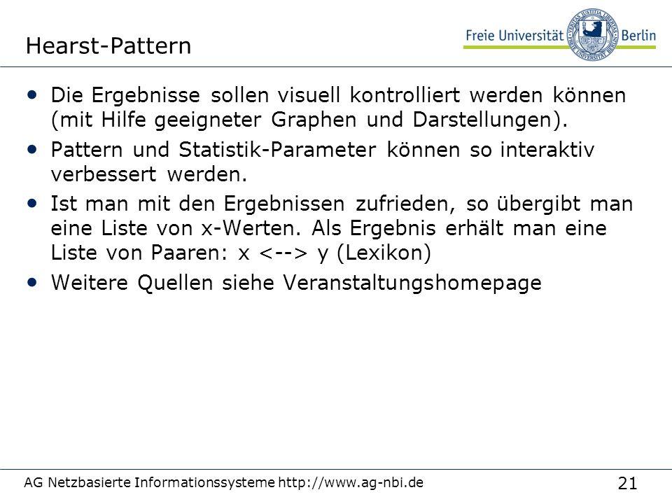 21 AG Netzbasierte Informationssysteme http://www.ag-nbi.de Hearst-Pattern Die Ergebnisse sollen visuell kontrolliert werden können (mit Hilfe geeigne