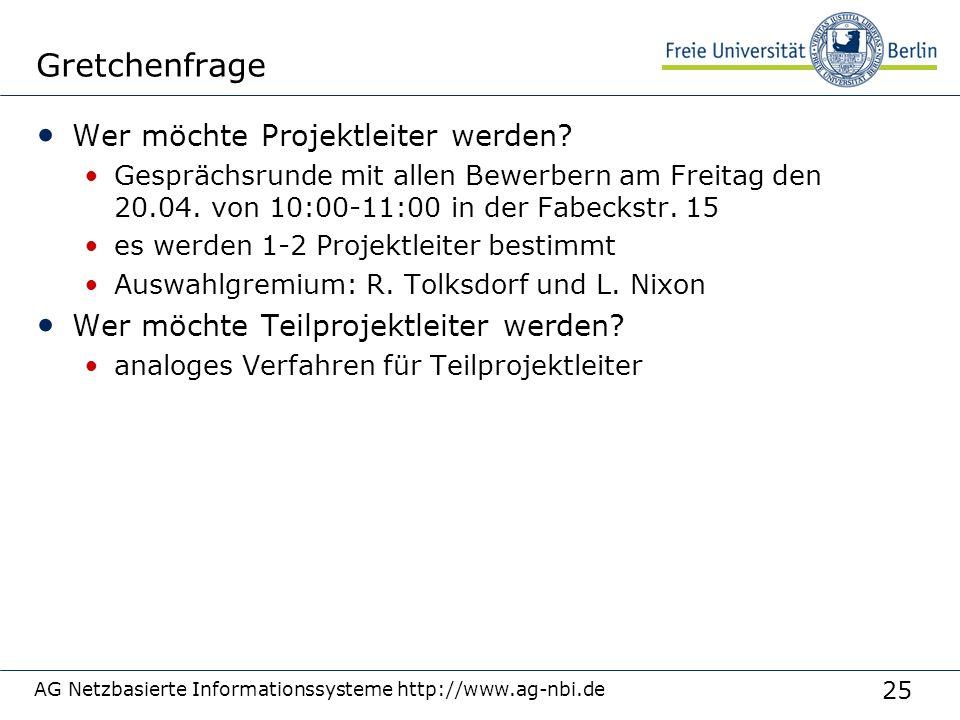 25 AG Netzbasierte Informationssysteme http://www.ag-nbi.de Gretchenfrage Wer möchte Projektleiter werden? Gesprächsrunde mit allen Bewerbern am Freit