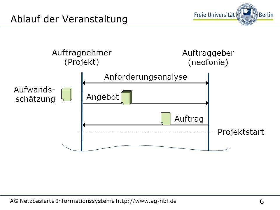 6 AG Netzbasierte Informationssysteme http://www.ag-nbi.de Ablauf der Veranstaltung Auftragnehmer (Projekt) Auftraggeber (neofonie) Anforderungsanalys