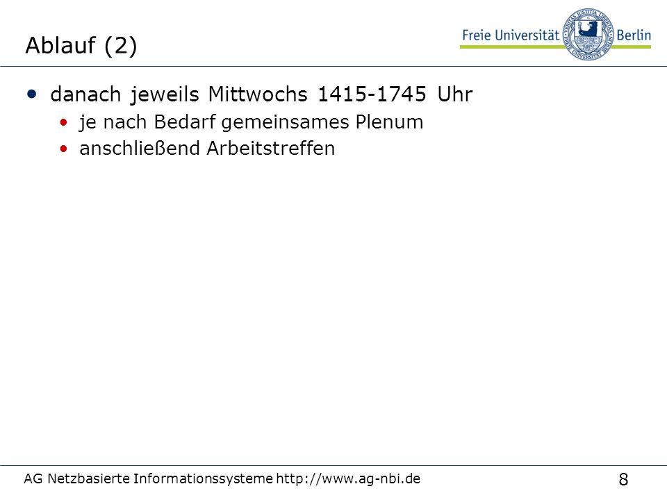 8 AG Netzbasierte Informationssysteme http://www.ag-nbi.de Ablauf (2) danach jeweils Mittwochs 1415-1745 Uhr je nach Bedarf gemeinsames Plenum anschli