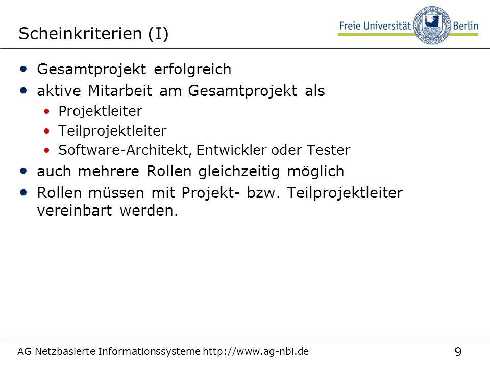 10 AG Netzbasierte Informationssysteme http://www.ag-nbi.de Scheinkriterien (II) für alle außer Projektleiter: 1-2 Seiten Arbeitsbericht über persönlichen Beitrag zum Gesamtprojekt Arbeitsbericht muss vom Projekt- und Arbeitspaketleiter abgezeichnet werden: wird sonst nicht akzeptiert persönlicher Beitrag zum Gesamtprojekt wird von Projekt- und Teilprojektleiter bewertet Abgabe Arbeitsbericht: 01.08.2007 aber: am besten von Anfang an mitprotokollieren