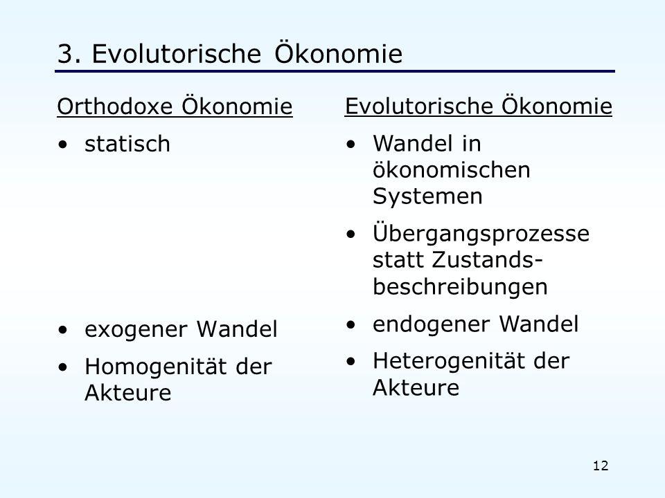 12 3. Evolutorische Ökonomie Orthodoxe Ökonomie statisch exogener Wandel Homogenität der Akteure Evolutorische Ökonomie Wandel in ökonomischen Systeme