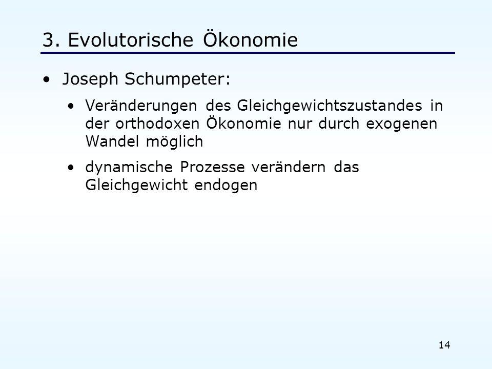 14 3. Evolutorische Ökonomie Joseph Schumpeter: Veränderungen des Gleichgewichtszustandes in der orthodoxen Ökonomie nur durch exogenen Wandel möglich