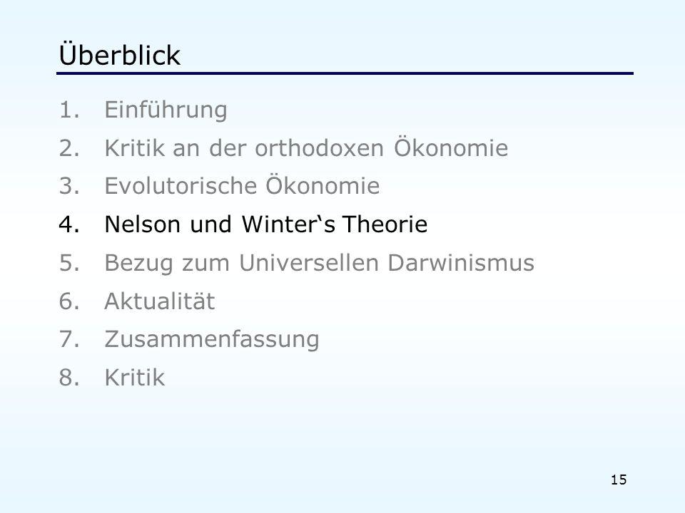 15 Überblick 1.Einführung 2.Kritik an der orthodoxen Ökonomie 3.Evolutorische Ökonomie 4.Nelson und Winters Theorie 5.Bezug zum Universellen Darwinismus 6.Aktualität 7.Zusammenfassung 8.Kritik