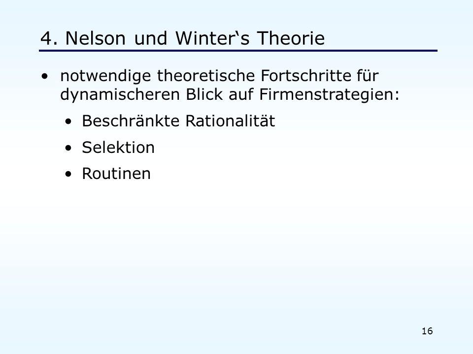 16 4. Nelson und Winters Theorie notwendige theoretische Fortschritte für dynamischeren Blick auf Firmenstrategien: Beschränkte Rationalität Selektion