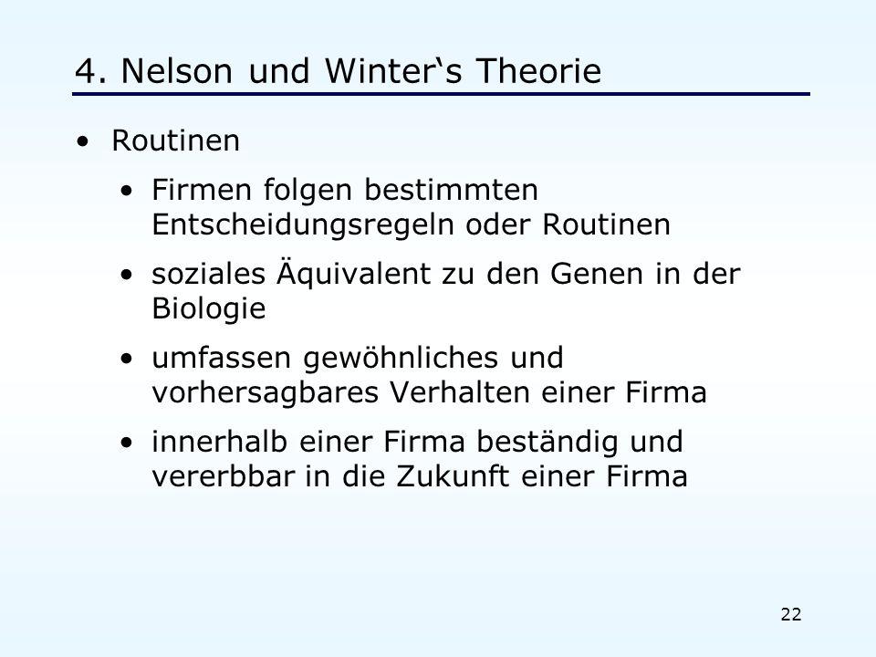 22 4. Nelson und Winters Theorie Routinen Firmen folgen bestimmten Entscheidungsregeln oder Routinen soziales Äquivalent zu den Genen in der Biologie