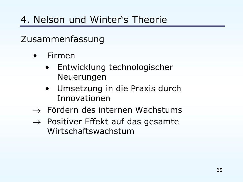 25 4. Nelson und Winters Theorie Zusammenfassung Firmen Entwicklung technologischer Neuerungen Umsetzung in die Praxis durch Innovationen Fördern des