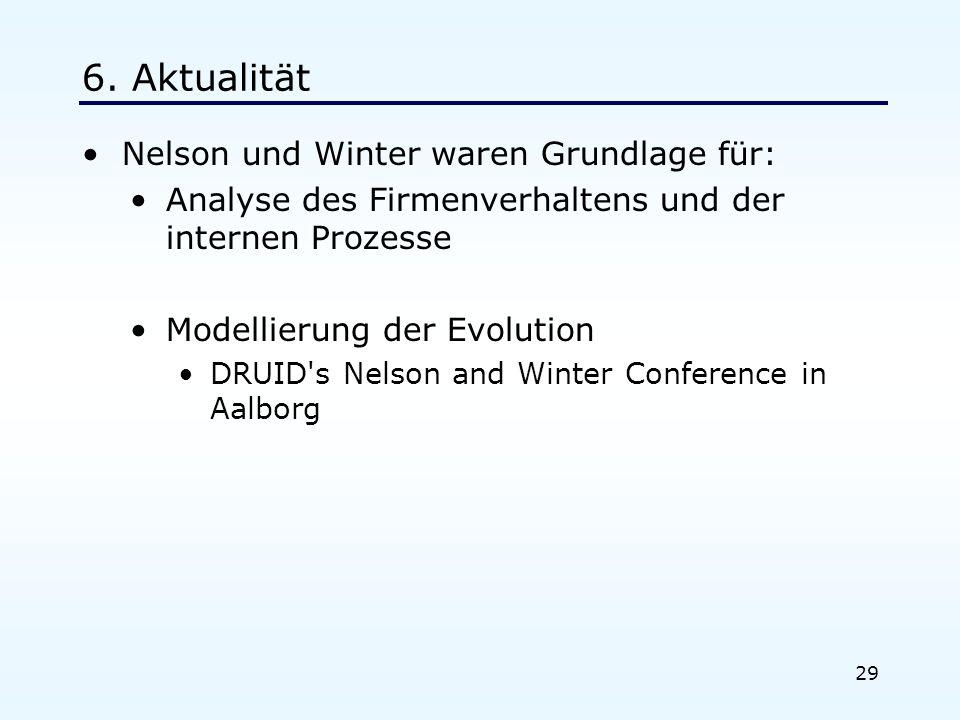 29 6. Aktualität Nelson und Winter waren Grundlage für: Analyse des Firmenverhaltens und der internen Prozesse Modellierung der Evolution DRUID's Nels