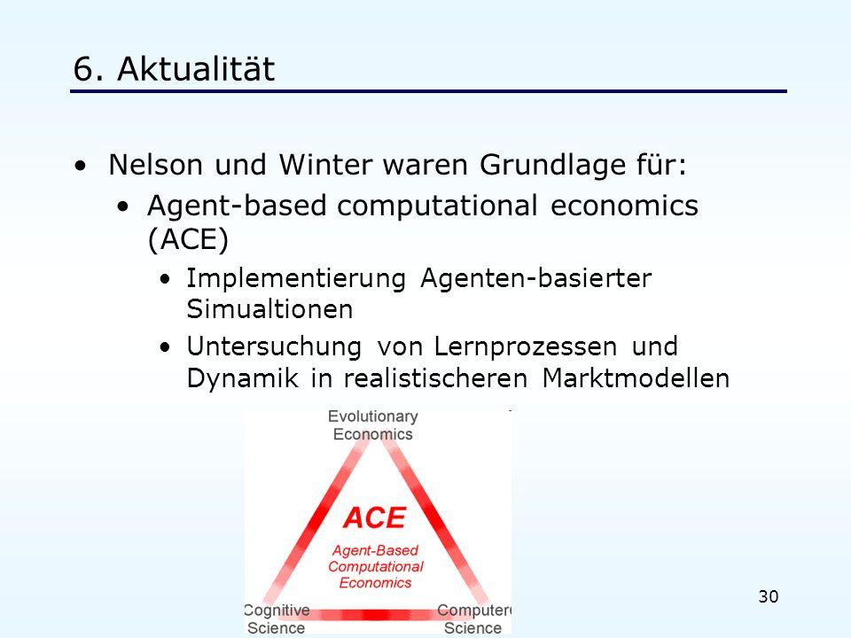 30 6. Aktualität Nelson und Winter waren Grundlage für: Agent-based computational economics (ACE) Implementierung Agenten-basierter Simualtionen Unter