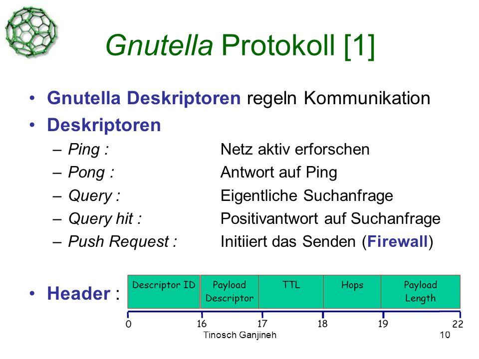 Tinosch Ganjineh10 Gnutella Protokoll [1] Gnutella Deskriptoren regeln Kommunikation Deskriptoren –Ping : Netz aktiv erforschen –Pong : Antwort auf Ping –Query : Eigentliche Suchanfrage –Query hit : Positivantwort auf Suchanfrage –Push Request : Initiiert das Senden (Firewall) Header :