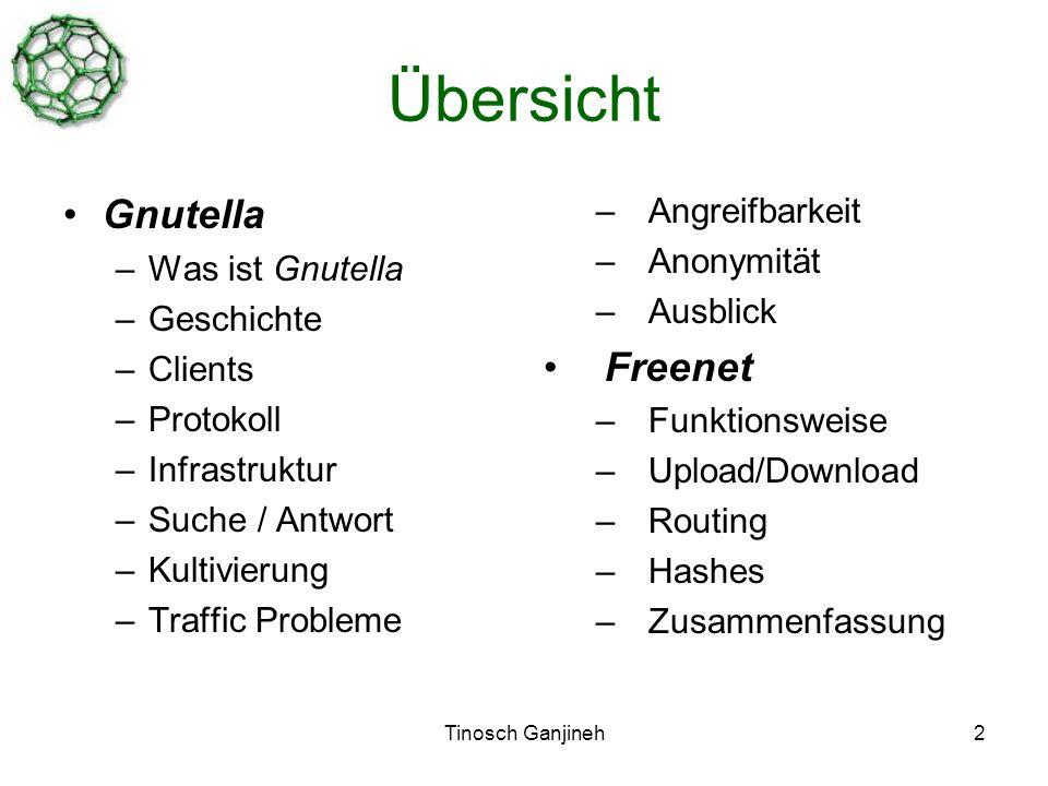 Tinosch Ganjineh2 Übersicht Gnutella –Was ist Gnutella –Geschichte –Clients –Protokoll –Infrastruktur –Suche / Antwort –Kultivierung –Traffic Probleme –Angreifbarkeit –Anonymität –Ausblick Freenet –Funktionsweise –Upload/Download –Routing –Hashes –Zusammenfassung