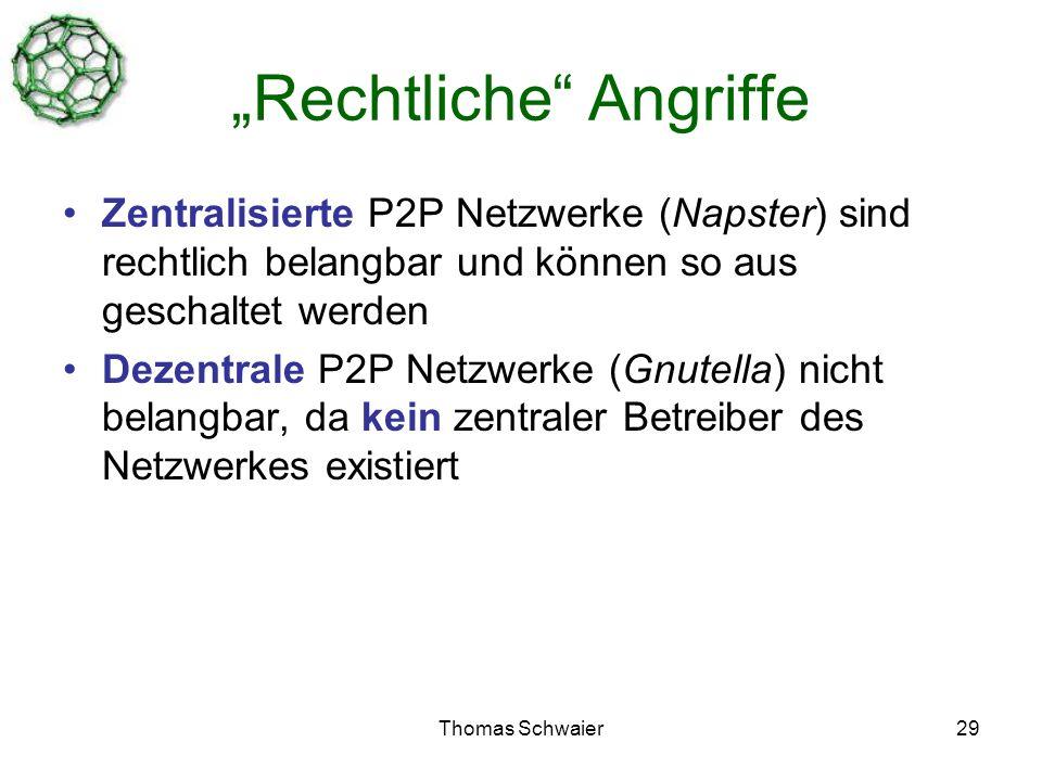 Thomas Schwaier29 Rechtliche Angriffe Zentralisierte P2P Netzwerke (Napster) sind rechtlich belangbar und können so aus geschaltet werden Dezentrale P2P Netzwerke (Gnutella) nicht belangbar, da kein zentraler Betreiber des Netzwerkes existiert