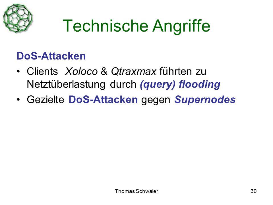 Thomas Schwaier30 Technische Angriffe DoS-Attacken Clients Xoloco & Qtraxmax führten zu Netztüberlastung durch (query) flooding Gezielte DoS-Attacken gegen Supernodes