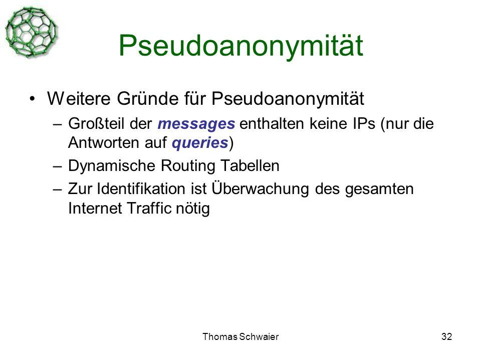 Thomas Schwaier32 Pseudoanonymität Weitere Gründe für Pseudoanonymität –Großteil der messages enthalten keine IPs (nur die Antworten auf queries) –Dynamische Routing Tabellen –Zur Identifikation ist Überwachung des gesamten Internet Traffic nötig