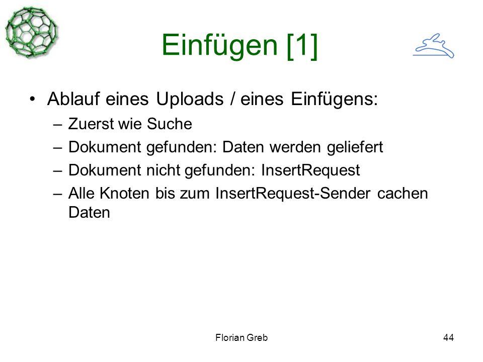 Florian Greb44 Einfügen [1] Ablauf eines Uploads / eines Einfügens: –Zuerst wie Suche –Dokument gefunden: Daten werden geliefert –Dokument nicht gefunden: InsertRequest –Alle Knoten bis zum InsertRequest-Sender cachen Daten