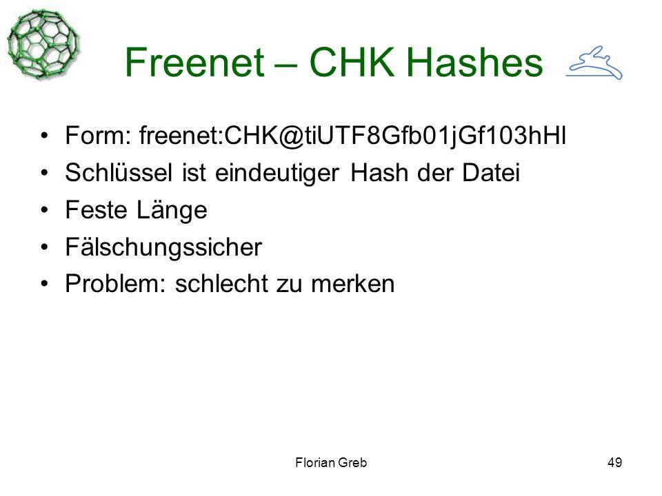 Florian Greb49 Freenet – CHK Hashes Form: freenet:CHK@tiUTF8Gfb01jGf103hHl Schlüssel ist eindeutiger Hash der Datei Feste Länge Fälschungssicher Problem: schlecht zu merken