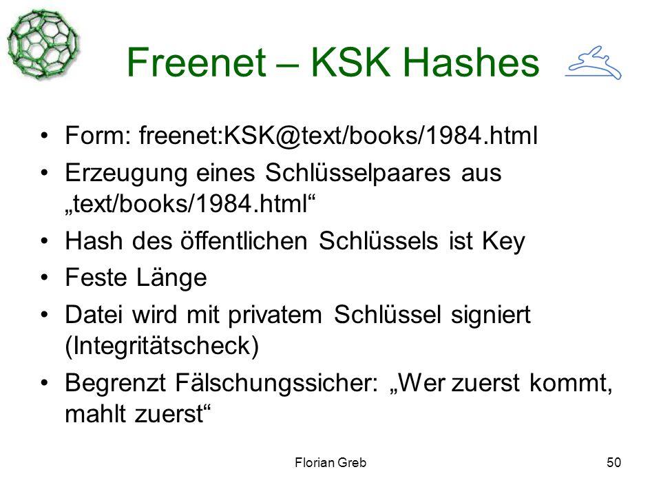 Florian Greb50 Freenet – KSK Hashes Form: freenet:KSK@text/books/1984.html Erzeugung eines Schlüsselpaares aus text/books/1984.html Hash des öffentlichen Schlüssels ist Key Feste Länge Datei wird mit privatem Schlüssel signiert (Integritätscheck) Begrenzt Fälschungssicher: Wer zuerst kommt, mahlt zuerst