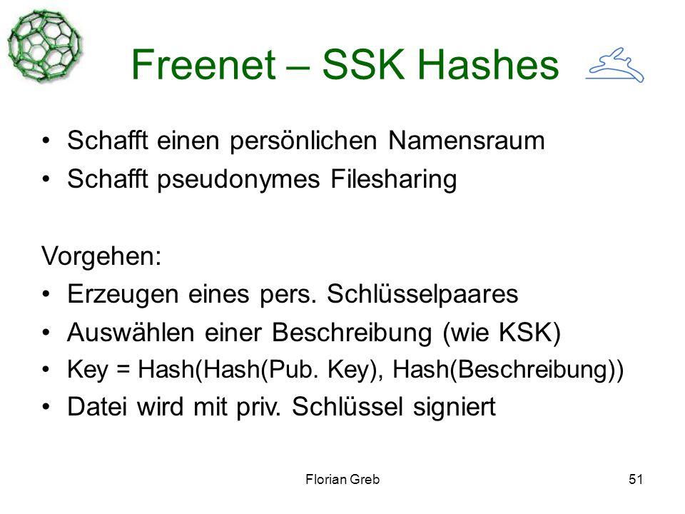 Florian Greb51 Freenet – SSK Hashes Schafft einen persönlichen Namensraum Schafft pseudonymes Filesharing Vorgehen: Erzeugen eines pers.