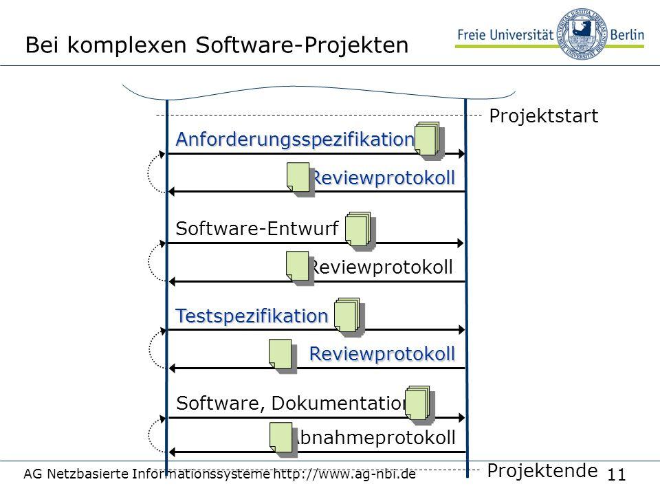 11 AG Netzbasierte Informationssysteme http://www.ag-nbi.de Bei komplexen Software-ProjektenAnforderungsspezifikation Reviewprotokoll Projektstart Sof
