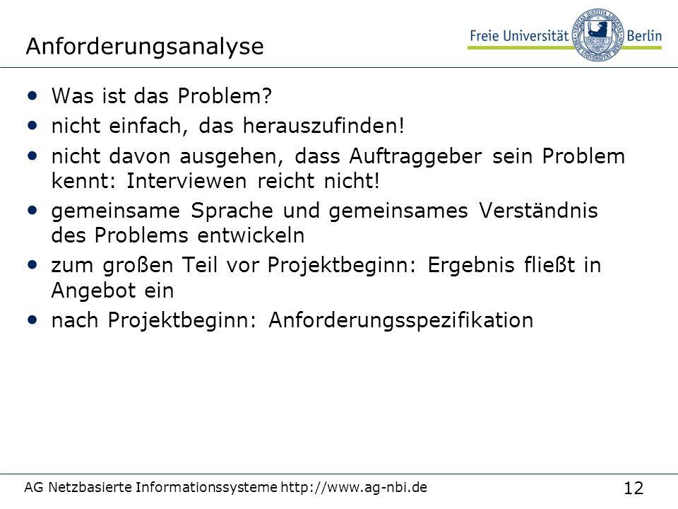12 AG Netzbasierte Informationssysteme http://www.ag-nbi.de Anforderungsanalyse Was ist das Problem? nicht einfach, das herauszufinden! nicht davon au
