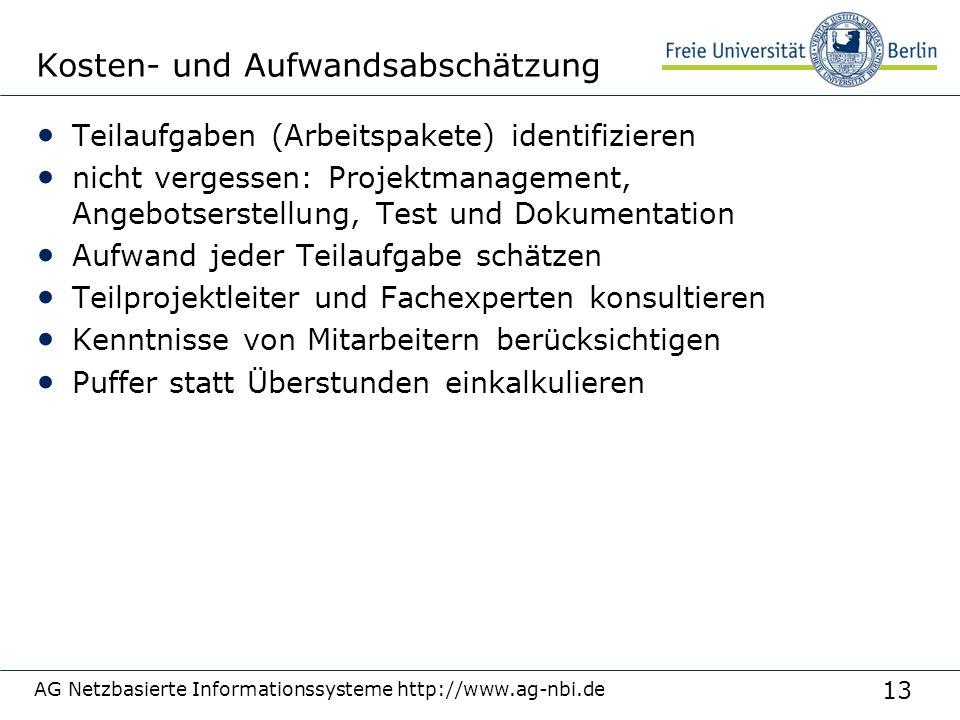 13 AG Netzbasierte Informationssysteme http://www.ag-nbi.de Kosten- und Aufwandsabschätzung Teilaufgaben (Arbeitspakete) identifizieren nicht vergesse