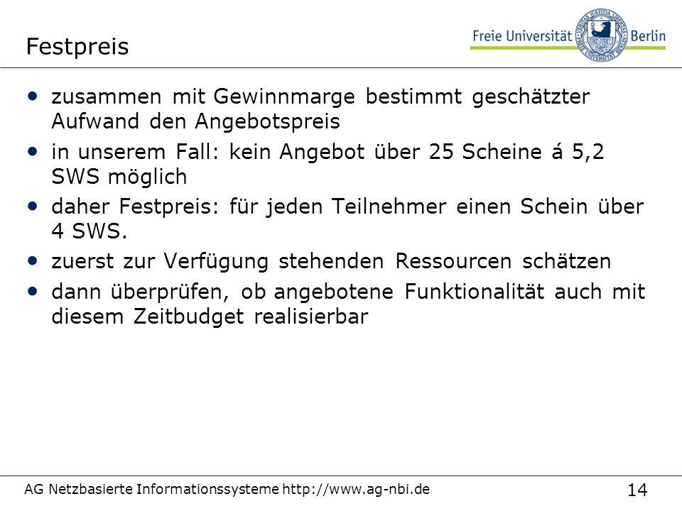 14 AG Netzbasierte Informationssysteme http://www.ag-nbi.de Festpreis zusammen mit Gewinnmarge bestimmt geschätzter Aufwand den Angebotspreis in unser