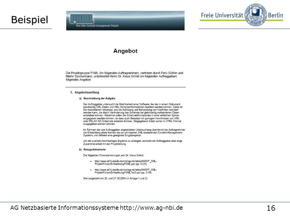 16 AG Netzbasierte Informationssysteme http://www.ag-nbi.deBeispiel
