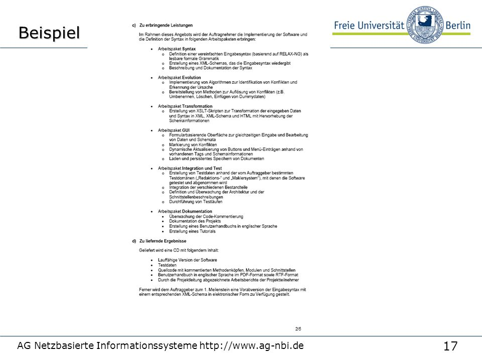 17 AG Netzbasierte Informationssysteme http://www.ag-nbi.deBeispiel