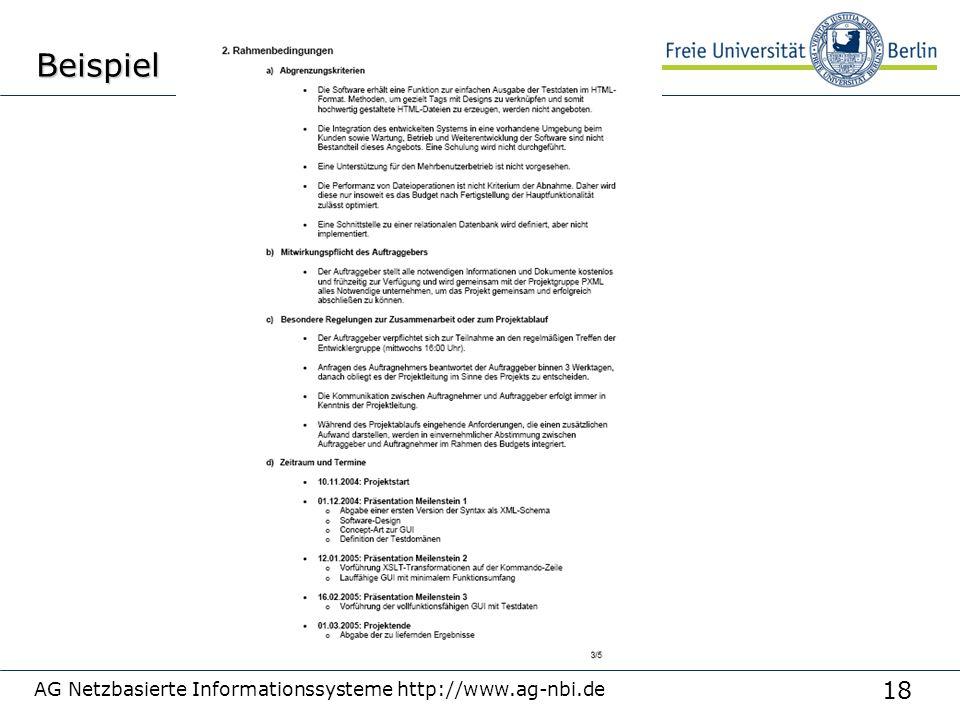 18 AG Netzbasierte Informationssysteme http://www.ag-nbi.deBeispiel