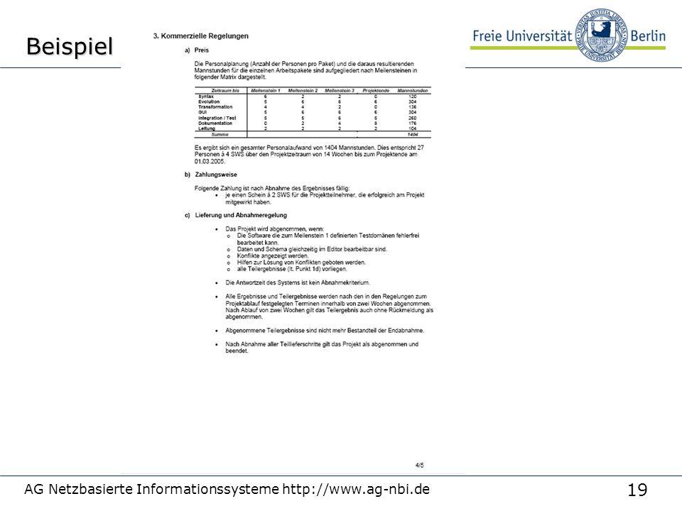 19 AG Netzbasierte Informationssysteme http://www.ag-nbi.deBeispiel