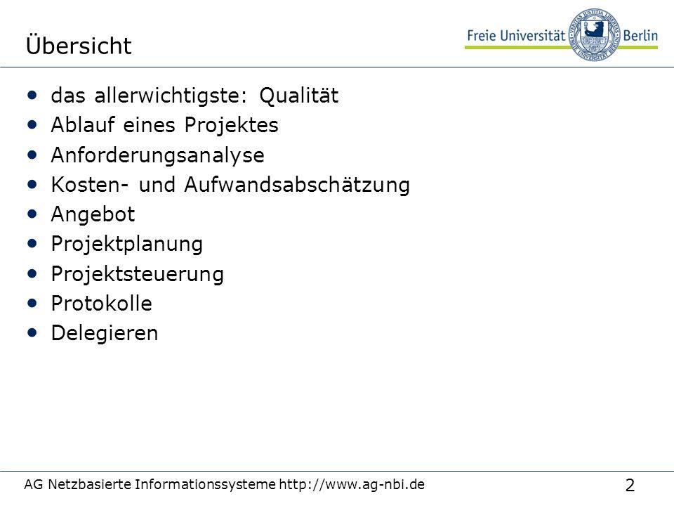 2 AG Netzbasierte Informationssysteme http://www.ag-nbi.de Übersicht das allerwichtigste: Qualität Ablauf eines Projektes Anforderungsanalyse Kosten-