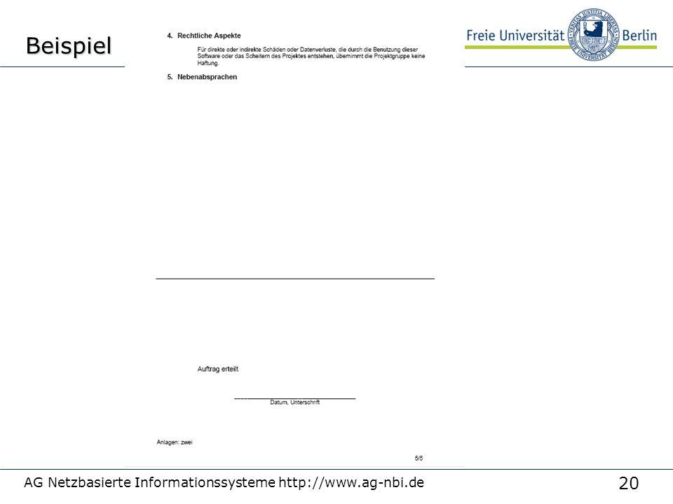 20 AG Netzbasierte Informationssysteme http://www.ag-nbi.deBeispiel