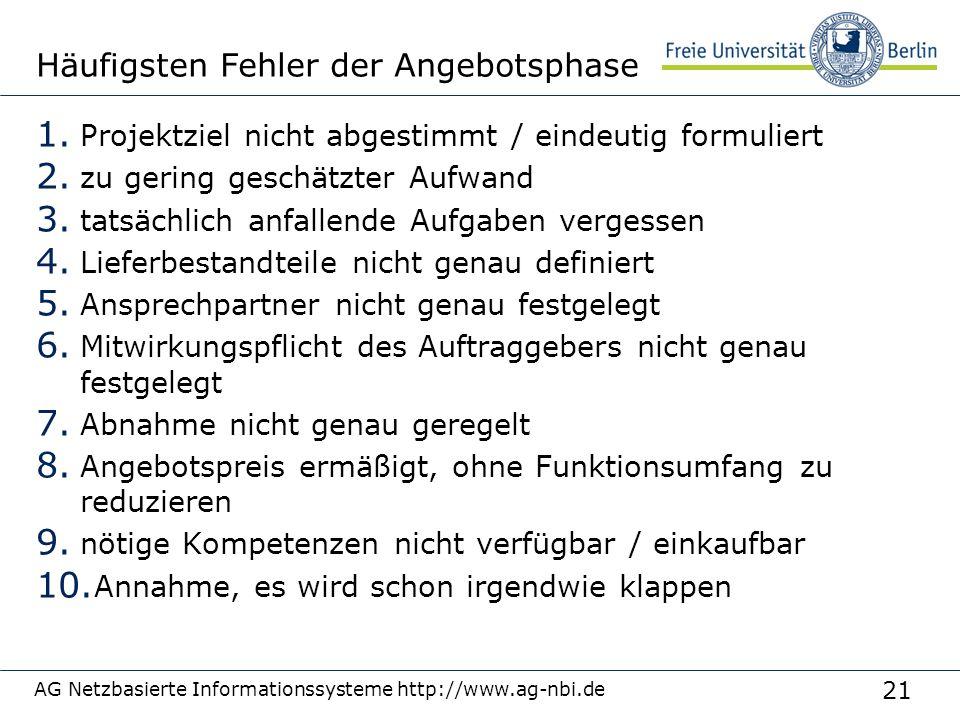 21 AG Netzbasierte Informationssysteme http://www.ag-nbi.de Häufigsten Fehler der Angebotsphase 1. Projektziel nicht abgestimmt / eindeutig formuliert