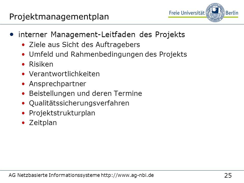 25 AG Netzbasierte Informationssysteme http://www.ag-nbi.de Projektmanagementplan interner Management-Leitfaden des Projekts Ziele aus Sicht des Auftr