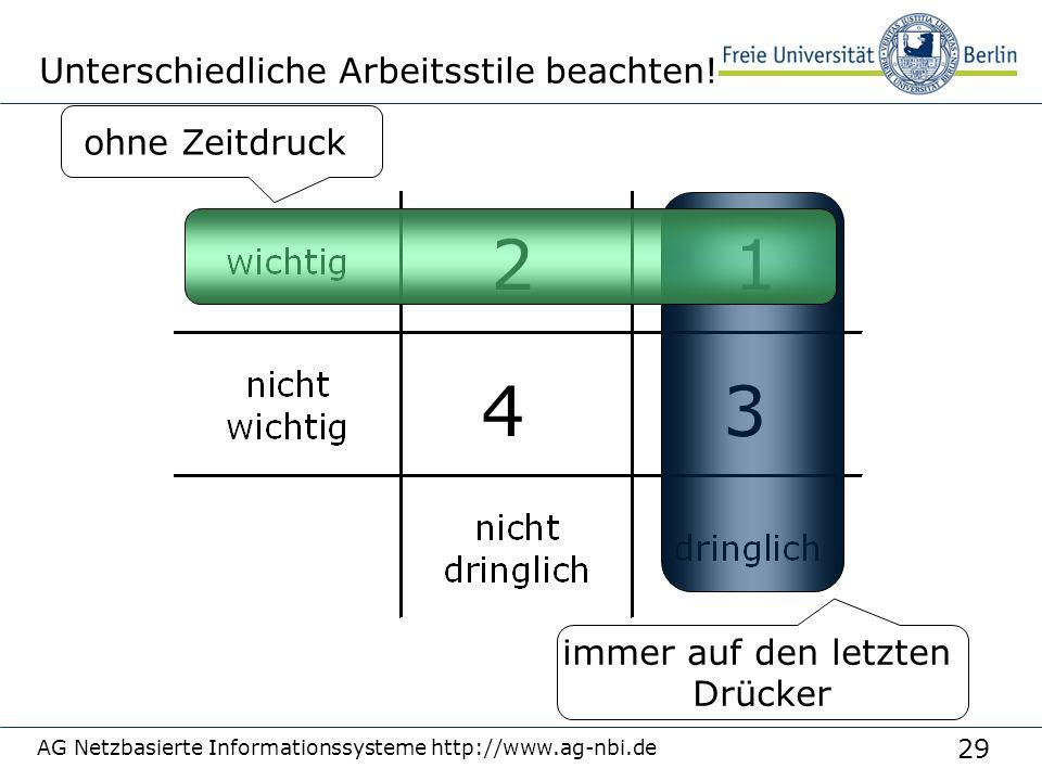 29 AG Netzbasierte Informationssysteme http://www.ag-nbi.de Unterschiedliche Arbeitsstile beachten! 4 2 immer auf den letzten Drücker 3 ohne Zeitdruck