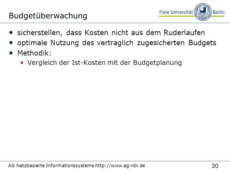 30 AG Netzbasierte Informationssysteme http://www.ag-nbi.de Budgetüberwachung sicherstellen, dass Kosten nicht aus dem Ruderlaufen optimale Nutzung de