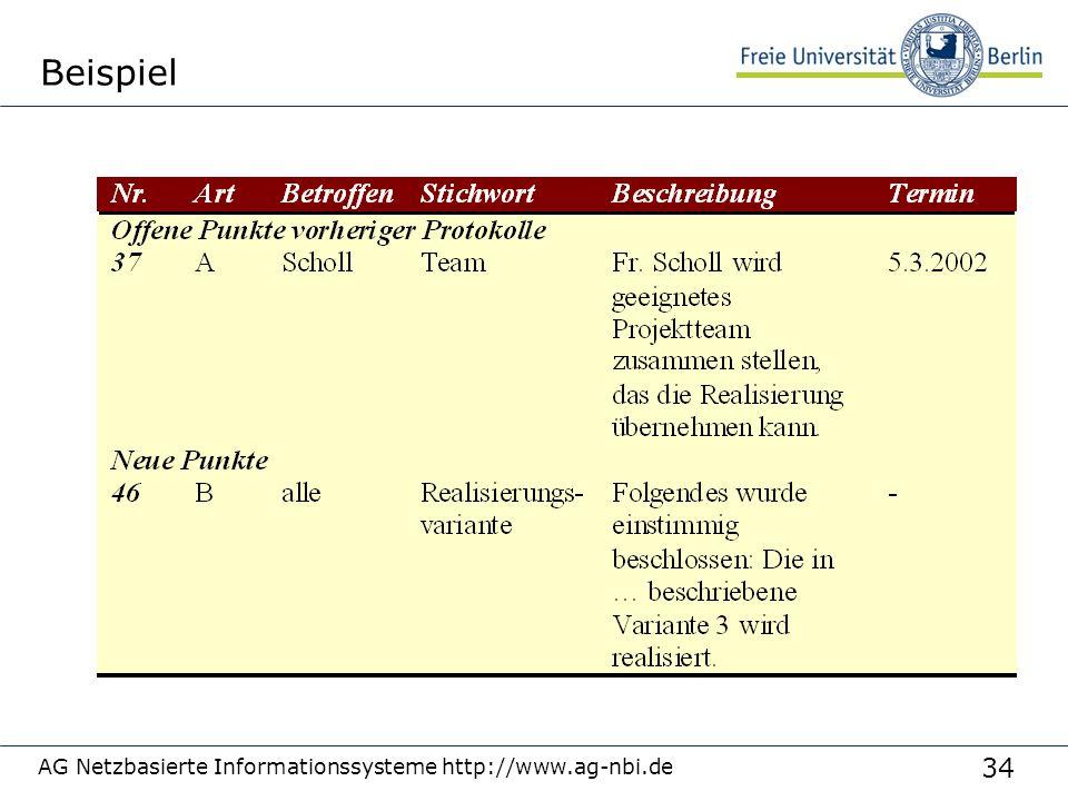 34 AG Netzbasierte Informationssysteme http://www.ag-nbi.de Beispiel