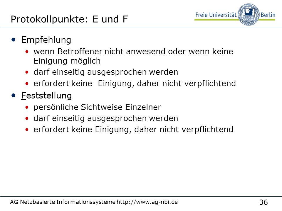 36 AG Netzbasierte Informationssysteme http://www.ag-nbi.de Protokollpunkte: E und F Empfehlung wenn Betroffener nicht anwesend oder wenn keine Einigu